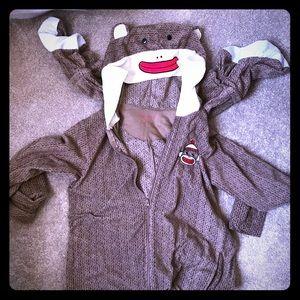Other - Adult XL Sock Monkey zip onesie
